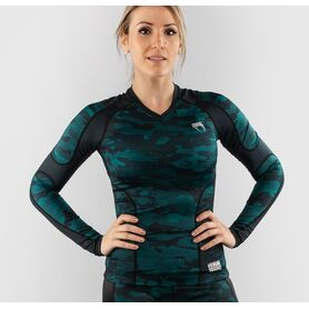 VE-03827-102-L-Venum Defender long sleeve Rashguard - for women - Black/Green