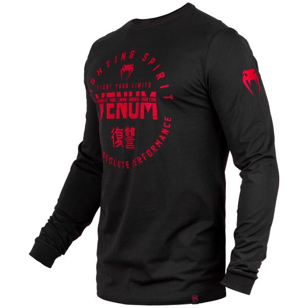 VE-03656-100-L-Venum Signature T-shirt - Long Sleeves - Black/Red